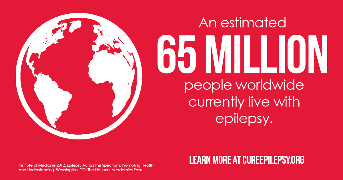 A graphic stating that 65 million people worldwide have epilepsy. Text next to a globe.