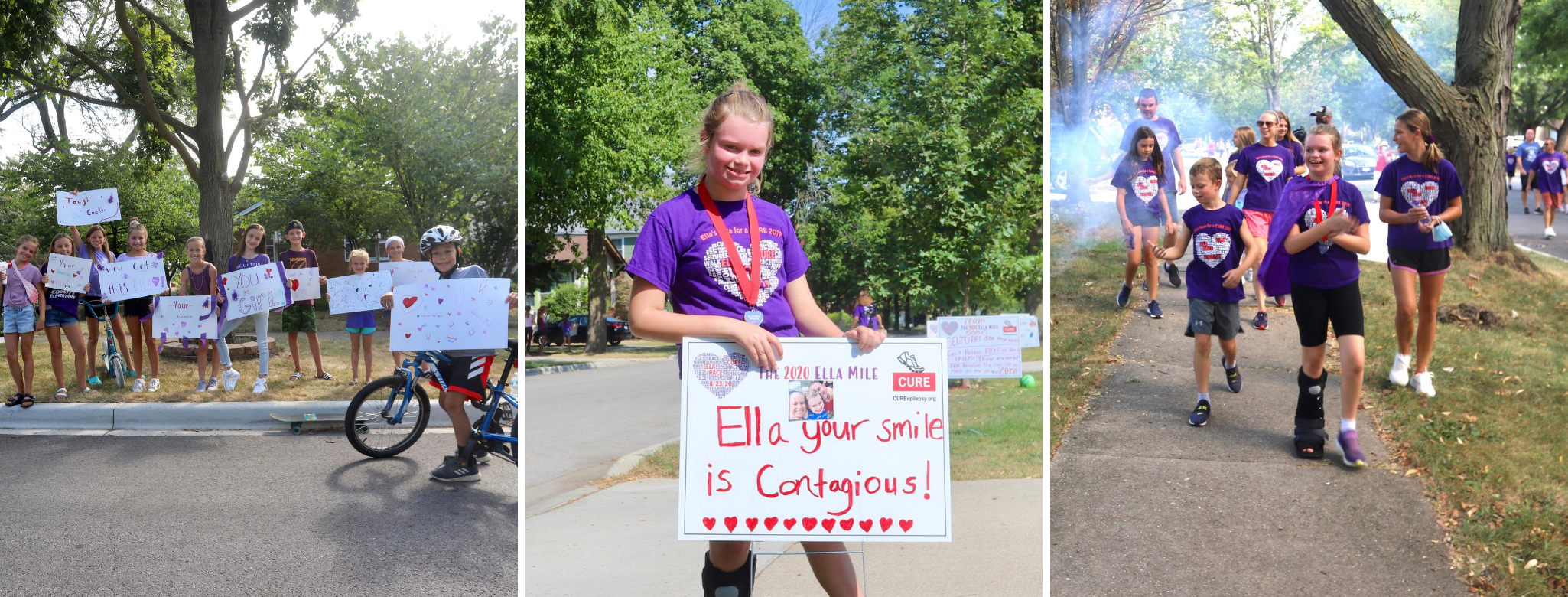 "Three images, The first is a group of children wearing Ella Mile shirts. The second is of Ella herself standing behind a sign that says, ""Ella, your smile is contagious."" The third of of Ella and her family walking."