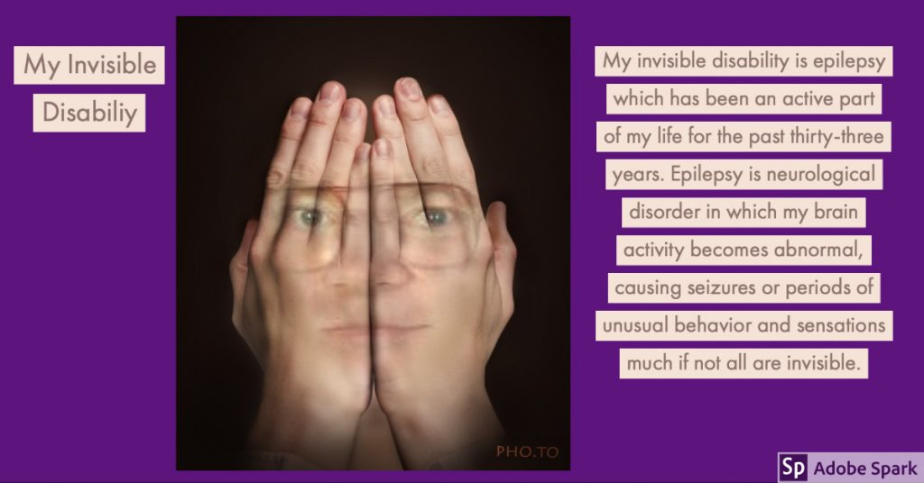 Artistic rendering of Edward covering his face with his hands. The hands are transparent, revealing his face behind them. Text is beside his face over a purple background about his invisible disability.