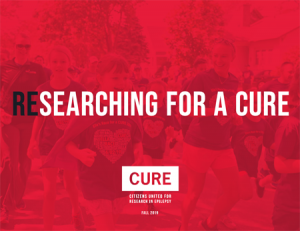 Red cover featuring in bold text, (Re)searching for a Cure.