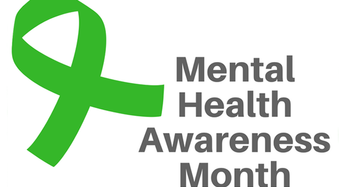 """a lime green ribbon with the text """"Mental Health Awareness Month"""""""